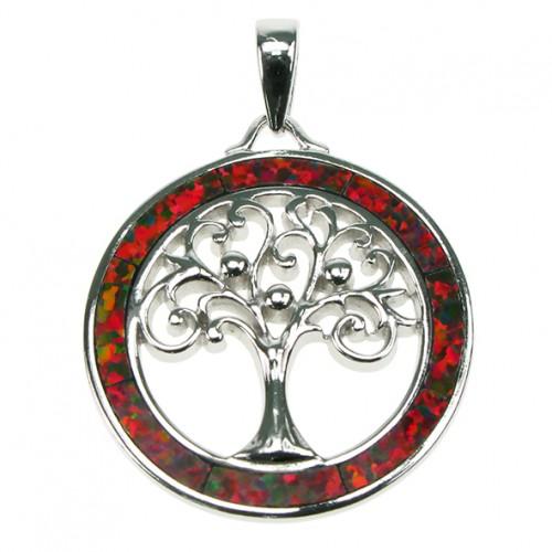 Livets Træ - Smykke halskæde vedhæng med ild opal sten, 925 Sterling sølv & rhodium belægning