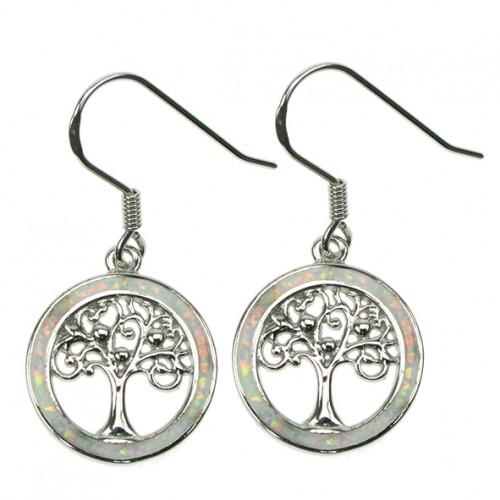 Livets Træ - Opal øreringe med hvid sne Opal sten, 925 Sterling sølv og rhodium belægning(øreringe)