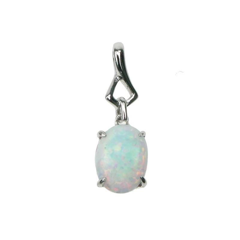 bf70d8619ca ... smykke halskæde med hvid sne opal sten, 925 Sterling sølv & rhodium  belægning. Tilbud! Ny Oval - Sne opal (vedhæng)