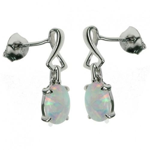 Oval - Opal øreringe med hvid sne opal sten, 925 Sterling sølv & rhodium belægning