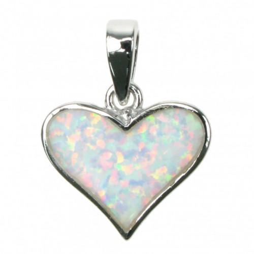 Hjerte - Sølv smykke halskæde med hvid sne opal sten, 925 Sterling sølv & rhodium belægning