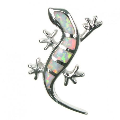 Firben - Sølv smykke halskæde med hvid sne opal sten, 925 Sterling sølv & rhodium belægning