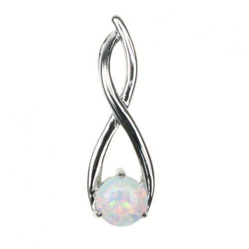 Twister - Sølv smykke halskæde vedhæng med hvid sne opal sten, 925 Sterling sølv & rhodium belægning