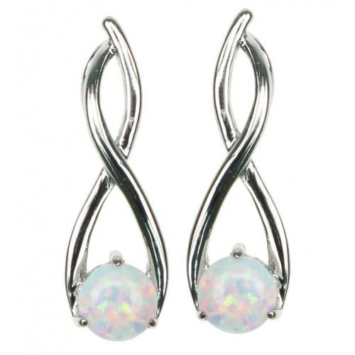 Twister - Opal øreringe med hvid sne opal sten, 925 Sterling sølv & rhodium belægning