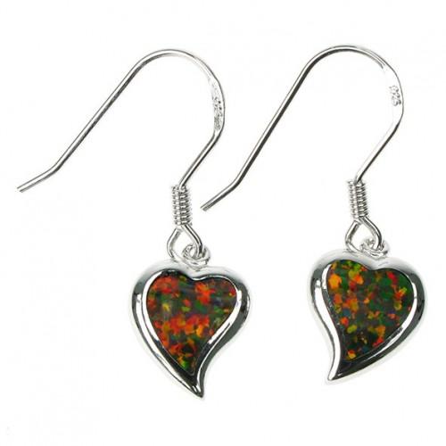 Hjerter - Opal øreringe med orange ild opal sten, 925 Sterling sølv & rhodium belægning