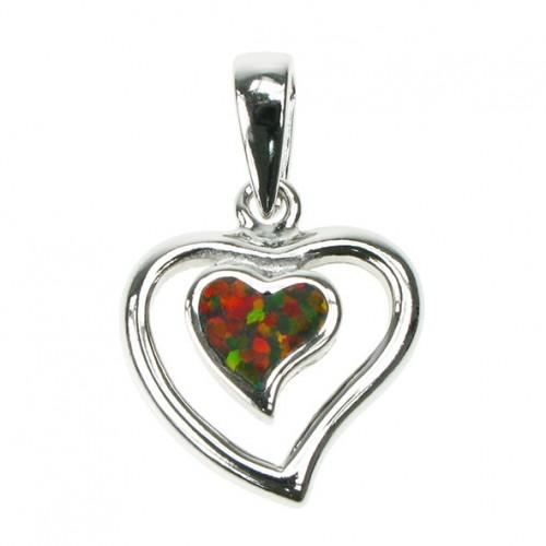 Hjerte - Sølv smykke halskæde vedhæng med orange ild opal sten, 925 Sterling sølv & rhodium belægning