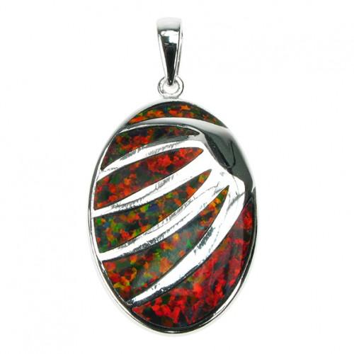 Solnedgang - Sølv smykke halskæde vedhæng med orange ild opal sten, 925 Sterling sølv & rhodium belægning