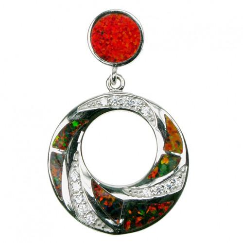 Cirkel - Sølv smykke halskæde vedhæng med orange ild opal sten, 925 Sterling sølv, zirkonia & rhodium belægning