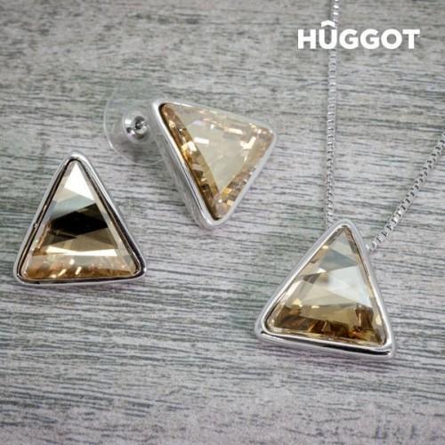 Hûggot Square rhodiumbelagt sæt: vedhæng og øreringe med zirkoner (45 cm)