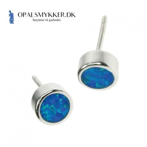 Rund - Opal øreringe med blå opal sten, 925 Sterling sølv & rhodium belægning