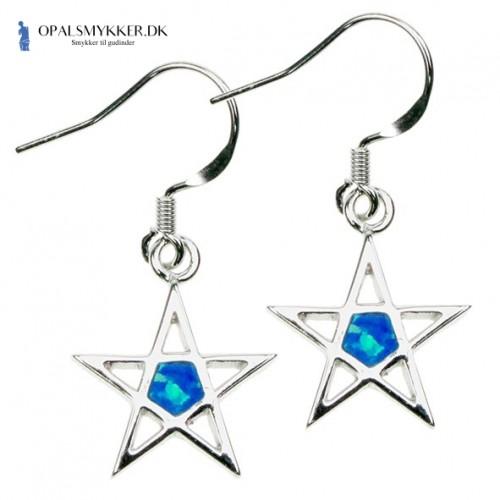 Pentagram - Opal øreringe med blå opal sten, 925 Sterling sølv & rhodium belægning