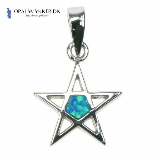Pentagram - Sølv smykke halskæde vedhæng med blå opal sten, 925 Sterling sølv & rhodium belægning