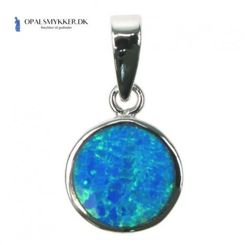 Cirkel - Sølv smykke halskæde vedhæng med blå opal sten, 925 Sterling sølv & rhodium belægning