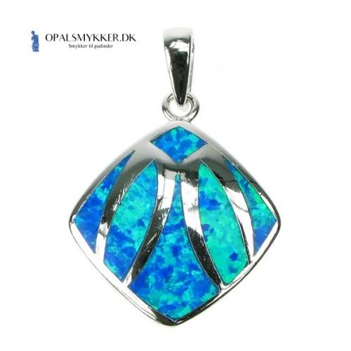 Skjold - Opal smykke vedhæng med blå opal sten, 925 Sterling sølv & rhodium belægning