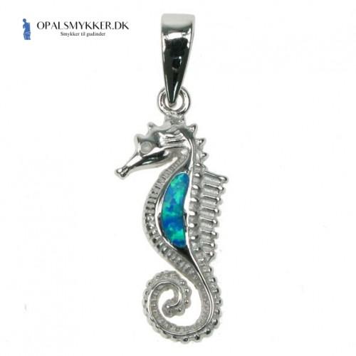 Søhest - Sølv smykke halskæde vedhæng med blå opal sten, 925 Sterling sølv & rhodium belægning