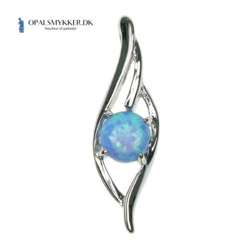 Bølge - Sølv smykke halskæde med blå opal sten, 925 Sterling sølv & rhodium belægning