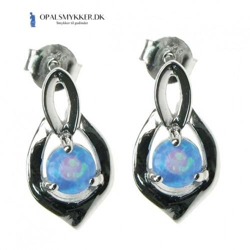 Skjold - Opal øreringe med blå opal sten, 925 Sterling sølv & rhodium belægning