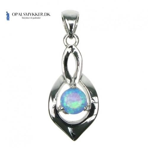 Skjold - Sølv smykke halskæde med blå opal sten, 925 Sterling sølv & rhodium belægning