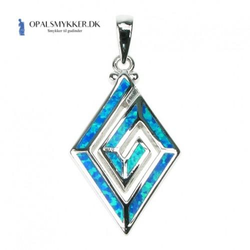Greek Key - Opal smykke vedhæng med blå opal sten, 925 Sterling sølv & rhodium belægning