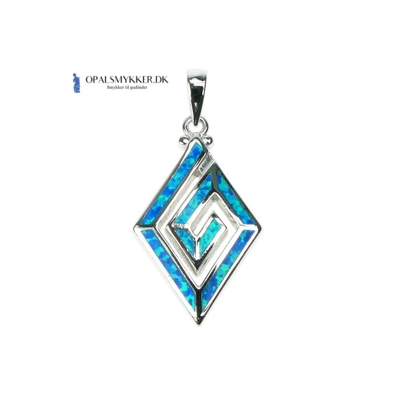 Greek Key - Blå Opal (vedhæng)