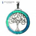 Livets Træ - Smykke halskæde vedhæng med blå opal sten, 925 Sterling sølv & rhodium belægning