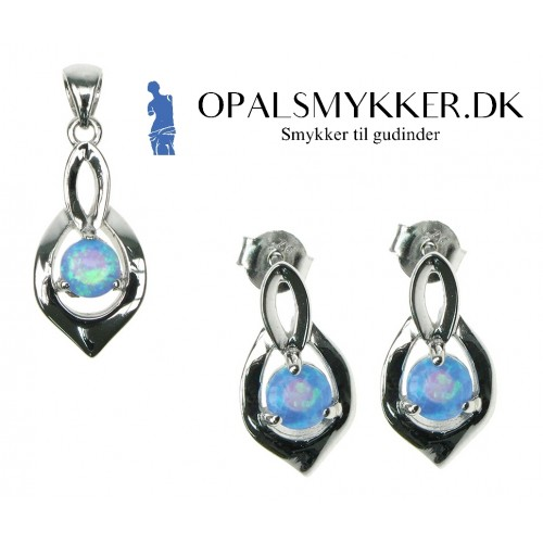Skjold - Opal smykkesæt i blå opal (vedhæng + øreringe)