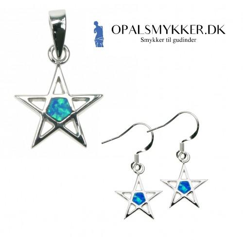 Pentagram - Opal smykkesæt i blå opal (vedhæng + øreringe)