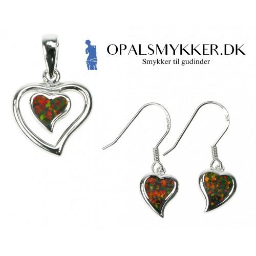 Hjerte - Opal smykkesæt i ild opal (vedhæng + øreringe)