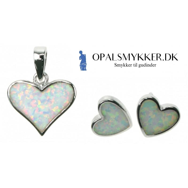 Hjerte - Opal smykkesæt i sne opal (vedhæng + øreringe)