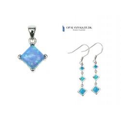 Kvadratisk - Opal smykkesæt (vedhæng + øreringe) i blå opal sten og 925 Sterling sølv