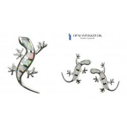 Firben - Opal smykkesæt (vedhæng + øreringe) i sne (hvid) opal sten og 925 Sterling sølv
