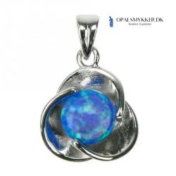 Blomst - Opal smykke vedhæng med blå opal sten, 925 Sterling sølv & rhodium belægning
