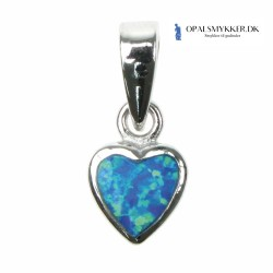 Blå Opal Hjerte - Opal smykke vedhæng med blå opal sten, 925 Sterling sølv & rhodium belægning