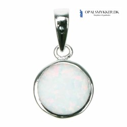 Disk - Sølv smykke halskæde vedhæng med hvid sne opal sten, 925 Sterling sølv & rhodium belægning