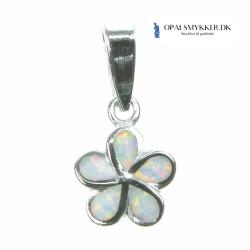 Daisy - Sølv smykke halskæde vedhæng med hvid sne opal sten, 925 Sterling sølv & rhodium belægning