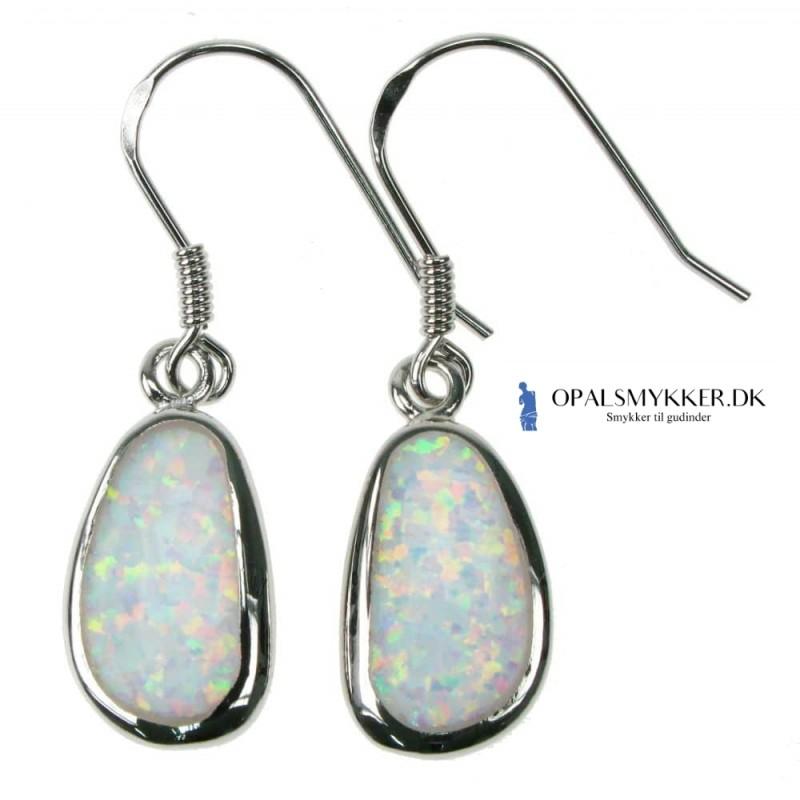 Fri Form - Opal øreringe med hvid sne opal sten, 925 Sterling sølv & rhodium belægning