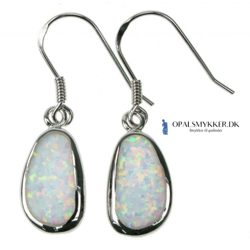 b442c08a33f Ny Fri Form - Opal øreringe med hvid sne opal sten, 925 Sterling sølv &  rhodium