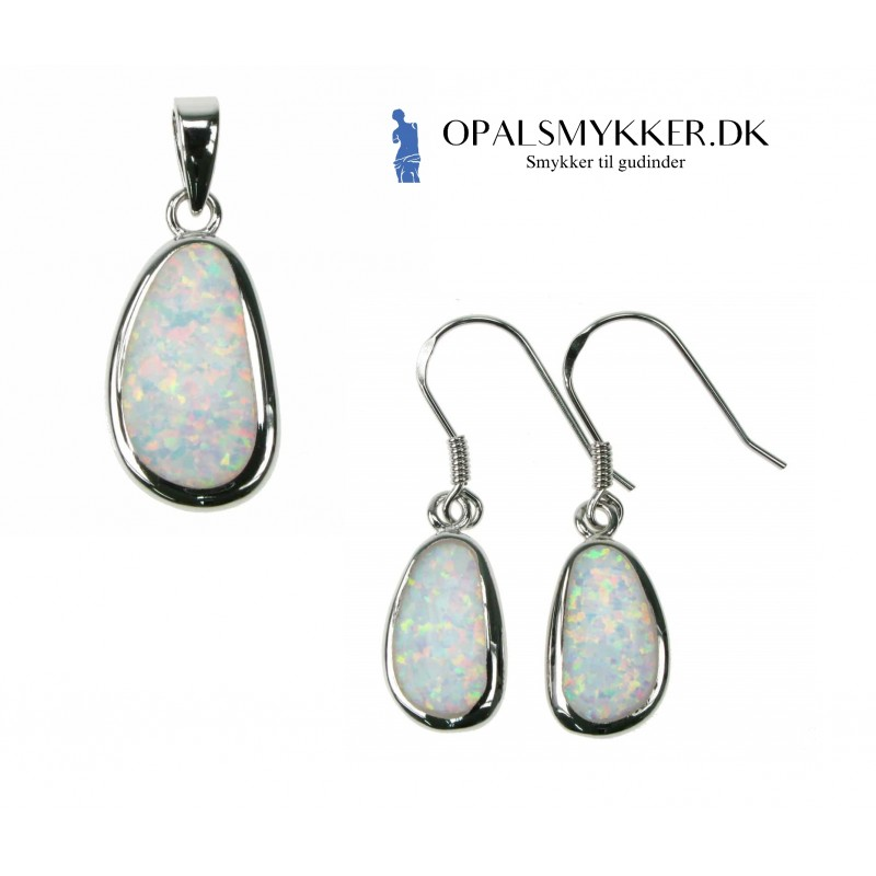 ebfb109bf3f ... 925 Sterling sølv & rhodium belægning. Tilbud! Ny Fri Form - Hvid Sne  Opal Smykkesæt med øreringe og vedhæng i hvid sne opal sten