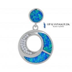 Santorini - Sølv smykke halskæde vedhæng med blå opal sten, 925 Sterling sølv & rhodium belægning