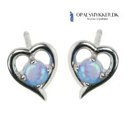 Hjerte - Opal øreringe med blå opal sten, 925 Sterling sølv og rhodium belægning