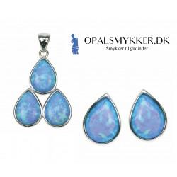 3 Dråber - Opal smykkesæt vedhæng + øreringe med blå opal sten, 925 Sterling sølv og rhodium belægning