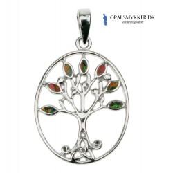 Livets Træ - Sølv halskæde med orange ild opal sten, 925 Sterling sølv & rhodium belægning