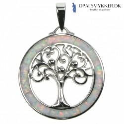 Livets Træ - Opal halskæde smykke med sne (hvid) opal sten, 925 Sterling sølv & rhodium belægning