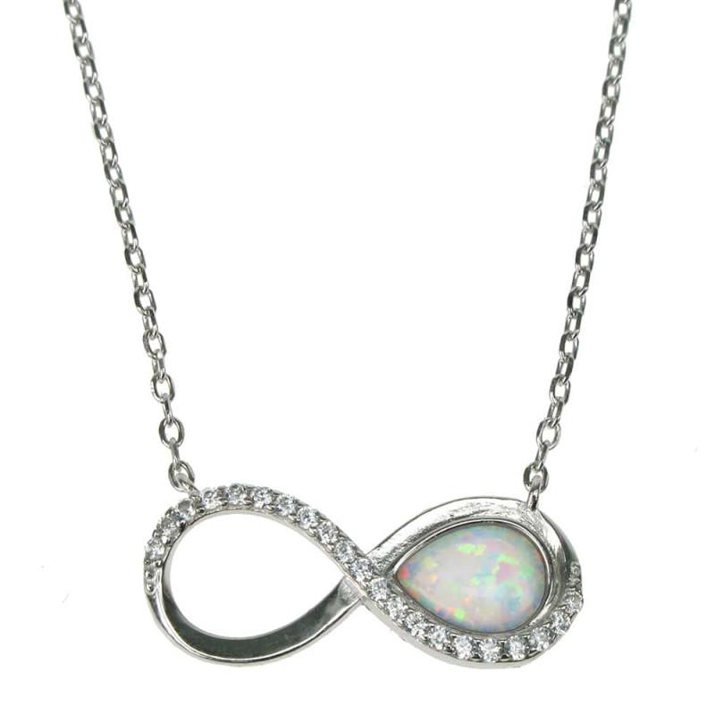 Uendelighed Symbol med Halskæde (38 cm) + Opal vedhæng med sne (hvid) opal sten, 925 Sterling sølv, zirkonia & rhodium belægning