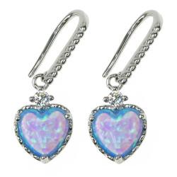 Hjerter - Opal øreringe med blå opal sten, 925 Sterling sølv, zirkonia og rhodium belægning
