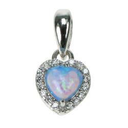 Havets Hjerte - Opal smykke vedhæng med blå opal sten, 925 Sterling sølv, zirkonia & rhodium belægning