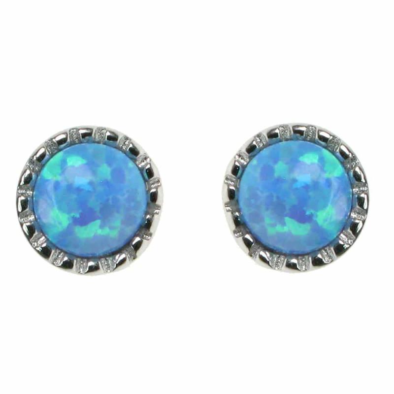 Rund - Opal øreringe med blå opal sten, 925 Sterling sølv og rhodium belægning