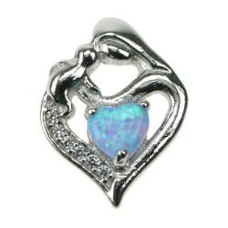 Mor & Barn (Lys) - Opal smykke vedhæng med blå opal sten, 925 Sterling sølv, zirkonia & rhodium belægning
