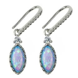 Marquise - Opal øreringe med blå opal sten, 925 Sterling sølv og rhodium belægning