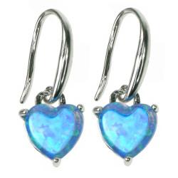 Himlens Hjerte - Opal smykke vedhæng med blå opal sten, 925 Sterling sølv & rhodium belægning